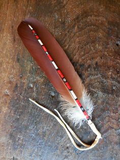 Natural feather - Not painted/dyed. Porcupine quillwork. Etsy - Silver Turtle.