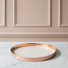 Karui Tray Ø34cm, Ivory White Leather/ Copper