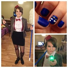 My femme Eleventh Doctor costume, complete with TARDIS nails and a tiny fez! - Imgur