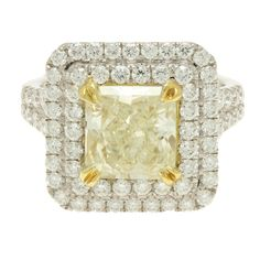 GIA CERTIFIED 18K White Gold Cushion Cut Yellow Diamond Engagement Ring