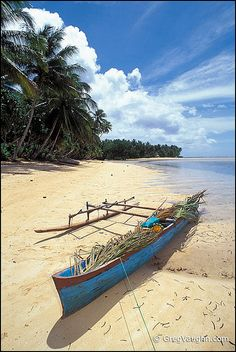 Outrigger canoe on palm tree-lined beach, village of Walung, Kosrae, Micronesia. Wake Island, Federated States Of Micronesia, Outrigger Canoe, Island Nations, World Pictures, Solomon Islands, Paradise Island, Vacation Places, Pacific Ocean
