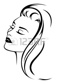 mooie vrouw gezicht met lang haar - zwart en wit vector illustratie Stockfoto
