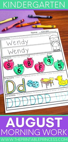 August kindergarten morning work is the perfect summer review for independent practice. Students will build reading, writing and math skills as they are exposed to letter tracing and writing, beginning sounds, counting, number practice and more! Kindergarten Names, Kindergarten Morning Work, Kindergarten Centers, Kindergarten Classroom, Literacy Activities, Summer Activities, Beginning Sounds, Tracing Letters, Writing Practice