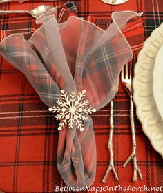 Snowflake Napkin Ring and Silver Twig Flatware by Between Naps on the Porch - Table Settings Tartan Christmas, Christmas Napkins, Christmas Love, Beautiful Christmas, All Things Christmas, Christmas Holidays, Christmas Crafts, Christmas Ornament, Merry Christmas
