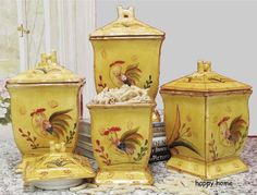 Charming Rooster Hand Painted Kitchen Canister Set Jars Tuscan French Country  Cooking Http://