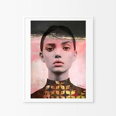 Young glance - Mixed media collage, Photo, vintage , retro, decor, print , poster, wall , interior design, elegant -