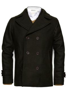 HEbyMANGO Men's Black Wool Short Double Breasted Pea Coat