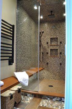 Modern Master Bathroom with Porcelain wood tile, Rain shower, Amba S 2933 O Towel Warmer and Space Heater Modern Master Bathroom, Modern Bathroom Design, Wood Shower Bench, Towel Heater, Quartz Flooring, Porcelain Wood Tile, Shower Lighting, Rain Shower, Studio Apartment