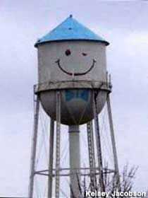 """Smiley Face Water Tower. Grand Forks,Nd Maddie just asked me what this was...""""the thing with the smiley!?"""""""