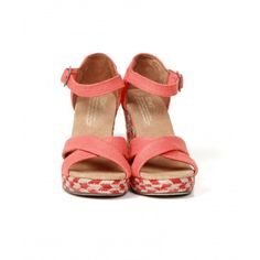 Strappy Wedges, Womens Toms, Coral, Sandals, Shopping, Shoes, Fashion, Moda, Shoes Sandals