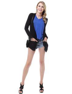 Long Sleeve Open Cardigan With Cross Crochet Back #11foxy