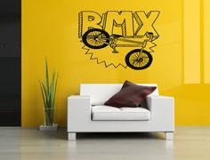 Removable Vinyl Sticker Mural Decal Wall Decor Poster Art Quote Boy Girl Set Playroom Bedroom Bike Bicycle Bmx Evolution Parts Ride SA510