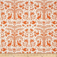 Moda Folklore Otomi Cloud-Pumpkin from @fabricdotcom  Designed by Lily Ashbury for Moda, this cotton print is perfect for quilting, apparel and home decor accents.  Colors include white and orange.