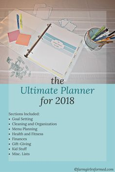 The Ultimate Planner for 2018 contains 100+ pages that will help you organize your life in every area. From goal setting to menu planning, you will have everything you need to get organized in 2018. Each section contains instructions for how to utilize that section, as well as an inspirational quote. Also included in the planner are some printable organizational tags and Christmas gift tags.
