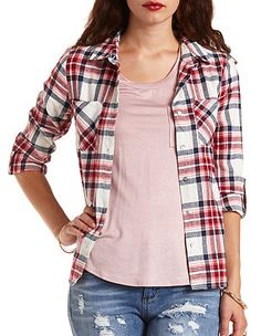 Plaid Flannel Button-Up Top: Charlotte Russe