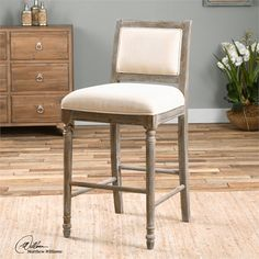 Uttermost - Runako Barstool In Rich Pewter/Washed Wood Grain - 23213 Parks Furniture, Fine Furniture, Accent Furniture, Custom Furniture, Contemporary Furniture, Furniture Design, Quality Furniture, Painted Furniture, Cool Bar Stools