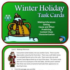 Winter Holidays Task Cards - thirty large cards with reading skills like making inferences, setting, characterization, prediction, and cause and effect. For middle school and upper elementary classes. Reading Response, Reading Skills, Reading Resources, Comprehension Strategies, Reading Comprehension, Fun Classroom Activities, Making Inferences, Third Grade Reading, Authors Purpose