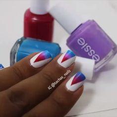 """""""Triangle gradient nails by @tachas_nails #nails #nailvideo #nailvideos"""""""