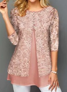 New Year Eve Outfits Sequin Glitter Dusty Pink Tunic Top Lace Panel Faux Two Piece Sequin Detail T Shirt Tops Online Shopping, Womens Trendy Tops, Frill Blouse, Grey Sweater Dress, Cotton Blouses, Blouse Designs, Fashion Dresses, Sequins, Tunic Tops