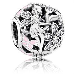PANDORA Dazzling Daisy Fairy, Light Pink Enamel & Clear Cubic Zirconia Charm