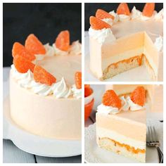 Ingredients: Cake Layer 3/4 cup + 2 tbsp all purpose flour 1/2 cup sugar 1 1/4 tsp baking powder 6 tbsp salted butter, room temperature 2 egg whites 1 1/2 tsp vanilla extract 1/4 cup sour cream 1/4 cup milk 3 tbsp hot water 3 tbsp orange JELLO powder* Ice Cream Layers 12 oz cream cheese, softened 3/4 cup sugar 1/4 cup milk 12 oz Cool Whip 3 oz package orange JELLO powder, less 3 tbsp* 2 tbsp hot water 2 tsp vanilla extract Additional Ingredients 8 oz Cool Whip orange candy slices orange gel…