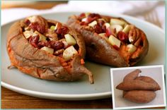 """Sweet Stuffed Potatoes! - or Stuffed Sweet Potatoes... Whatever you call them they're """"Stuffed"""", """"Sweet"""", and """"Potatoes"""" - such a great idea!"""