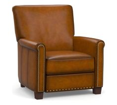 Construction Roll arm. Removable legs feature a Walnut finish. Attached cushions. No-sag steel sinuous springs provide cushion support. Features attractive Coffee nailheads. Leather Recliner Chair, Swivel Recliner, Leather Chairs, Plastic Adirondack Chairs, Leather Roll, Free Interior Design, Chairs For Sale, Chair Sale, Power Recliners