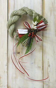 Japanese new year wreath Holiday Ornaments, Christmas Wreaths, Christmas Decorations, Xmas, Holiday Decor, Ikebana Arrangements, Floral Arrangements, Contemporary Baskets, New Year Art