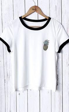 White Pineapple Print Short Sleeve T-shirt