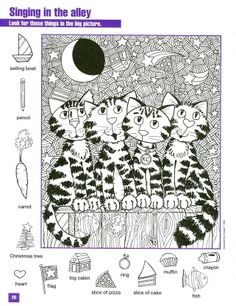 Cats Hidden pictures coloring page Más Learning Activities, Activities For Kids, Crafts For Kids, Highlights Hidden Pictures, Hidden Picture Puzzles, Paper Games, Hidden Objects, Find Objects, Colouring Pages