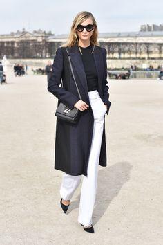 White pants, black top and 3/4 length coat. Black pumps and YSL purse. Perfect!   bluestilletos:  http://bluestilletos.tumblr.com/