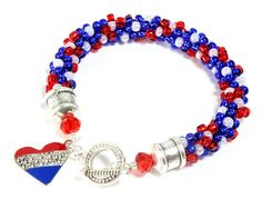 Patriotic Kumihimo Bracelet, Red White Blue Kumihimo, Heart Charm $40