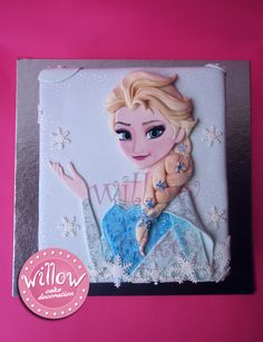 elsa frozen cake Cake by Willow Cake Decoration. This is a Elsa Frozen Cake, Elsa is a Disney Frozen Character from the popular child movie Frozen. This is all created and crafted out of fondant icing. They used Wilton color to hand paint her face on. Disney Frozen Cake, Frozen Theme Cake, Disney Cakes, Frozen Birthday Party, Frozen Frozen, Birthday Cakes, Birthday Ideas, Torte Frozen, Pastel Frozen