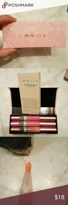 Mally cosmetics 3 pc lip library Brand new never used it put one up on wand for color swatch colors are just peachy foxy pink and baby doll mally cosmetics  Makeup Lip Balm & Gloss