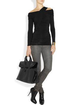 Donna Karan|Draped jersey top|NET-A-PORTER.COM