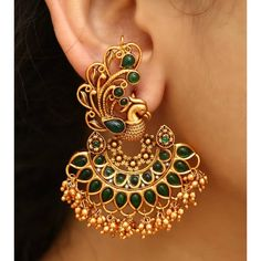 Mayil earring😍😍😍 Colours available Indian Jewelry Earrings, Jewelry Design Earrings, Gold Earrings Designs, Gold Jewellery Design, Antique Earrings, Indian Gold Jewelry, Buy Earrings, Antique Jewellery Designs, Gold Jewelry Simple