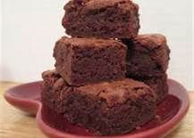 BROWNIES     2 sticks butter  10 tbsp. cocoa  4 eggs  1 c. flour  2 c. sugar  1 tsp. baking powder  Cream butter and sugar, add beaten eggs. Sift flour, cocoa and baking powder together, then add gradually, stirring until smooth. Pour into 9 x 13 inch greased pan. Bake at 350 degrees for 30 minutes. Or until toothpick comes out clean.