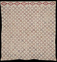 "Double Irish Chain; Quilt Index Record: 4E-86-14, Rocky Mtn Quilt Museum; 82.5"" x 90""; 1830 (1800-49); cotton, hand pieced & appliqued, cotton backing & batting; hand quilted"