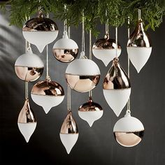Shop Set of 12 Copper and White Ornaments. Perfect for our copper A-frame ornament stand, these handpainted ornaments reinterpret classic ornament shapes in shiny copper and matte white with bands of shimmering glitter. Winter Christmas, Christmas Home, Christmas Crafts, Xmas, Christmas Mantles, Christmas Trends, Christmas Villages, Victorian Christmas, Vintage Christmas
