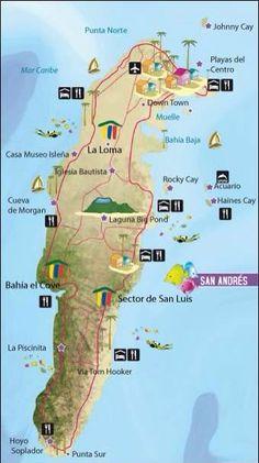 Mapa sitios Turísticos de San Andres Islas, Colombia