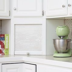 Small kitchens can have storage challenges. Countertops often become storage areas, but eliminating clutter can help any space feel larger. Use this trick in your kitchen and reclaim lost storage space with a corner appliance garage. The cabinet conceals coffeemakers, toasters, and more but keeps them easy to access for food prep.