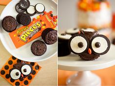 Baby Shower Candy Buffet pic (a run-thru) - Weddingbee. For cupcakes use Oreo cookies and round candy (here it's Reese's pieces). Could use mini Oreos instead. Easy Halloween Snacks, Recetas Halloween, Halloween Menu, Halloween Owl, Halloween Cupcakes, Halloween Desserts, Christmas Cupcakes, Owl Cupcakes, Cute Cupcakes