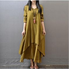Aliexpress.com : Buy Cotton Linen Solid Color Women Maxi Dress 2015 Autumn New False Two piece Long Sleeve Round Neck Loose Plus Size Irregular Dress from Reliable dress jeans for women suppliers on Johnature  | Alibaba Group