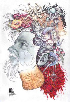 Think Thrice - mixed media art Wallpaper S, Drawing S, Mixed Media Art, Psychedelic, Surrealism, Digital Art, Doodles, Sketches, Watercolor