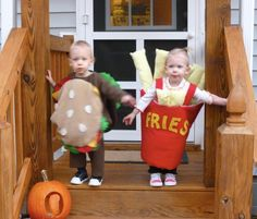 Hamburger and Fries costumes (perfect for twins!)