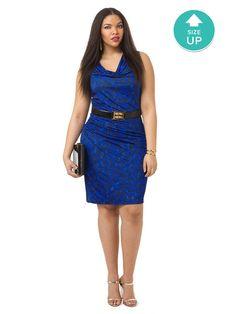 Blue Monochrome Ruched Dress