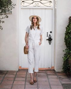 Get the jumpsuit for $35 at roolee.com - Wheretoget Halogen Zigzag Straw Panama Hat Teamed With Amara Stripe Jumpsuit Blogger Style Summer 2017 Tumblr