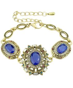 Blue Gemstone Gold Link Bracelet 6.60
