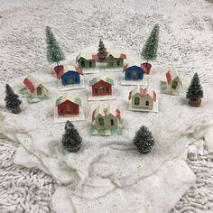 Set Of 10 Mica Putz Houses Bottle Brush Trees Vtg Christmas Glitter Mantle Cover  | eBay