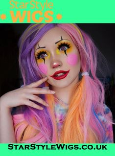 The Unicorn Rainbow Wig by Star Style Wigs has been beautifully adapted by @suezochan for this inspired circus clown makeup look. With multi-coloured pastel hair styled into long waves and side parting. The hair is heat friendly and available now for worldwide shipping. Click the image for full details.